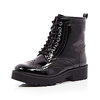 Black patent chunky lace up boot