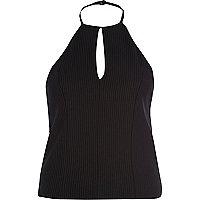 Black split front halter top