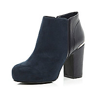 Navy block heel ankle boots