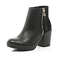 Black zip tassel ankle boots