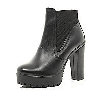 Black leather cleated sole Chelsea boot