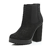Black suede snake print ankle boots
