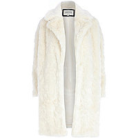 Cream faux fur oversized coat
