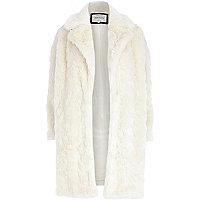 Cream faux fur oversized coat