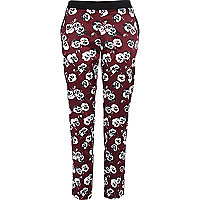 Dark red floral print slim cigarette pants