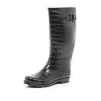 Black mock croc wellies