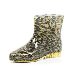 Brown leopard print ankle boot wellies