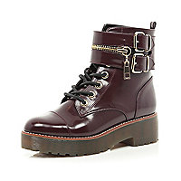 Dark red patent chunky biker lace up boot