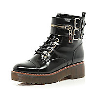 Black patent chunky biker lace up boot