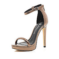 Bronze platform barely there sandals