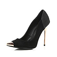 Black croc panel metal heel court shoes