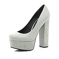 Light grey leather platform court shoes