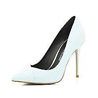 Light blue contrast toe cap point court shoes