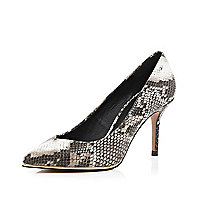 Grey snake print metal trim court shoes
