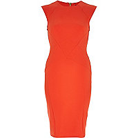 Orange bodycon pencil dress