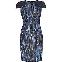 Blue Design Forum abstract print scuba dress
