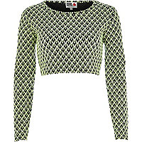 Bright green Chelsea Girl zig zag crop top