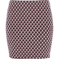 Pink zig zag textured mini skirt