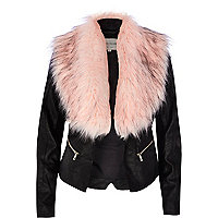 Black leather-look faux fur collar jacket