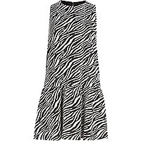 Black zebra print drop waist shift dress