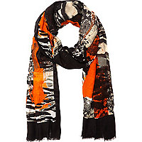 Black arty print long scarf