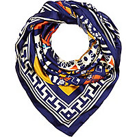 Blue sixties print satin square scarf