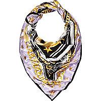 Purple chain print satin scarf