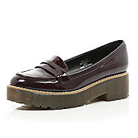 Dark patent chunky loafers