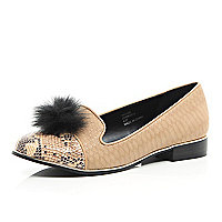 Beige snake print pom pom slipper shoes