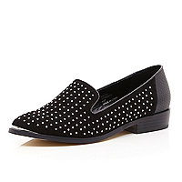 Black studded slipper shoe