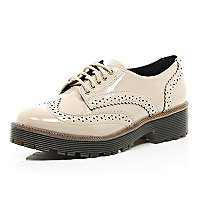 Light pink patent chunky brogues