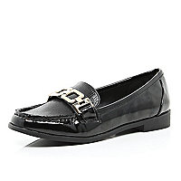 Black patent metal trim loafers