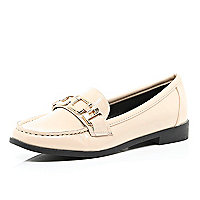 Light pink metal trim loafers