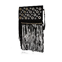 Black leather eyelet fringed clutch bag