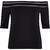 Black mesh stripe bardot top