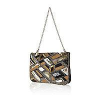 Gold leather embellished clutch bag