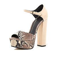 Cream snake peep toe platform sandals