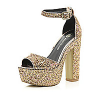 Gold glitter peep toe platform sandals