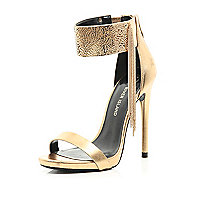 Gold cuff barely there sandals