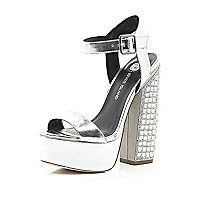 Silver platform gemstone statement heels