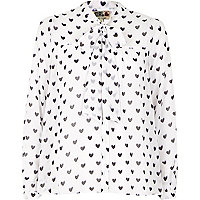 Cream Chelsea Girl heart print blouse