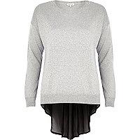 Grey metallic woven back jumper