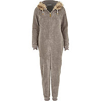 Grey faux fur trim onesie