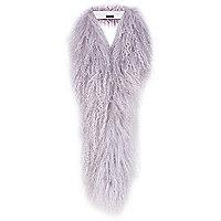 Lilac Mongolian fur skinny tippet