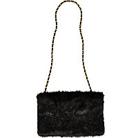 Black faux fur hand warmer bag