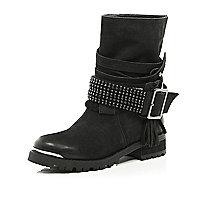 Black suede chain embellished biker boots