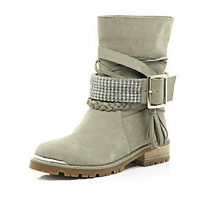Beige suede chain embellished biker boots