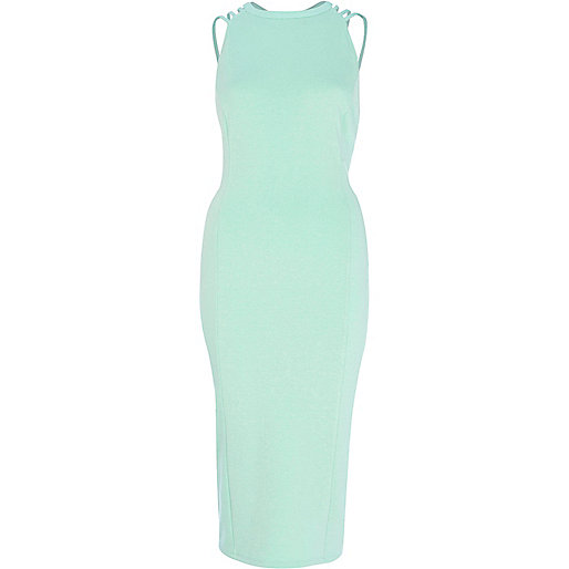 Turquoise strappy backless midi dress
