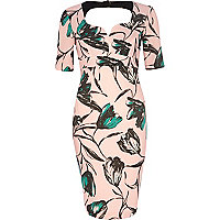 Pink floral print cut out miracle dress