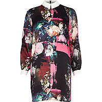Pink floral art print contrast collar dress